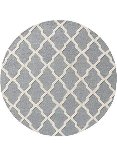 Benuta Wollteppich Windsor rund Hellblau ø 120 cm rund - Naturfaserteppich aus Wolle