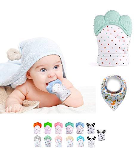 Funky Planet Baby dentición Manoplas, Protege Manos Bebés, Pain Relief Tranquilizadora de Edad + BUFANDAS (Mint)