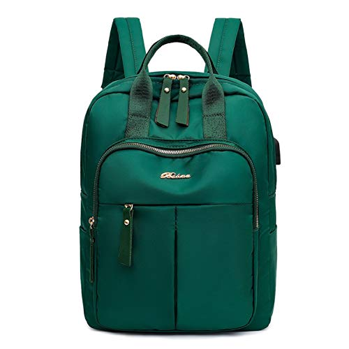 LingTongDianPu Fashion Oxford Cloth Backpack Large Capacity USB Charging Women Anti-Theft Student Travel School Shoulder Bags (Color : Green)