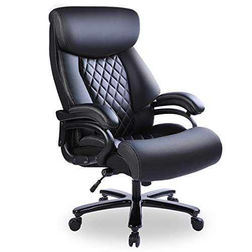 Bowthy Big and Tall Office Chair 400lbs Heavy Duty Ergonomic Computer Desk Chair with Arms High Back Adjustable Lumbar Support 360 Swivel Task Chair Executive Leather Chair (Black)
