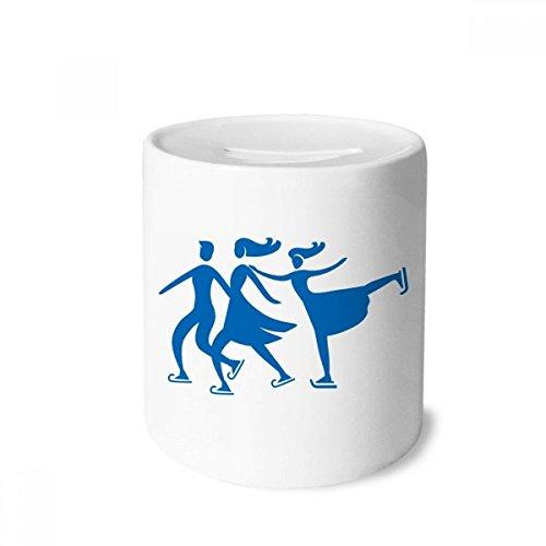 DIYthinker Skifahren Wintersport Blau Kontur Muster-Geld-Kasten Sparkassen Keramik Münzfach Kinder Erwachsene 3.5 Zoll in Height, 3.1 Zoll in Duruchmesser Mehrfarbig