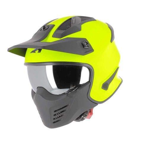 Astone Helmets - Elektron - Casque de moto jet - Casque jet 4 en 1 - Casque jet homologué - Coque en polycarbonate- Neon Yellow M