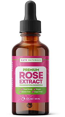 Premium Rose Extract by Kate Naturals. 100% Natural & Vegan. Gluten-Free & Food-Grade Rose Extract. Great Floral Flavor for Cooking, Baking & Beverages. 2 fl oz.