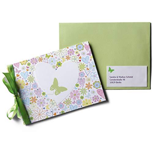 Karte mit Herz und Blumen 'Flori' - 15 fröhlich bunte Karten zur Geburt oder Taufe mit Satinschleife und Aufklebern - zum einfachen Selbstbedrucken