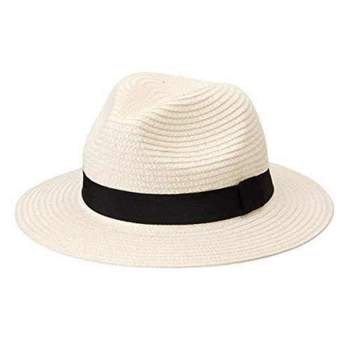 Michael Heinen Traditional Panamahut Fedora Trilby cappello di paglia, cappello da uomo e da donna, cappello estivo crema Taglia unica