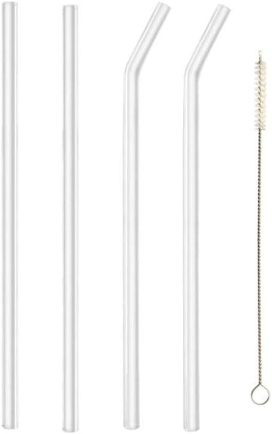 Glass Straws Clear 8 mm Drinking Straws Reusable Straws Healthy, Reusable, Eco Friendly, BPA Free, 4 Straws with Cleaning Brush