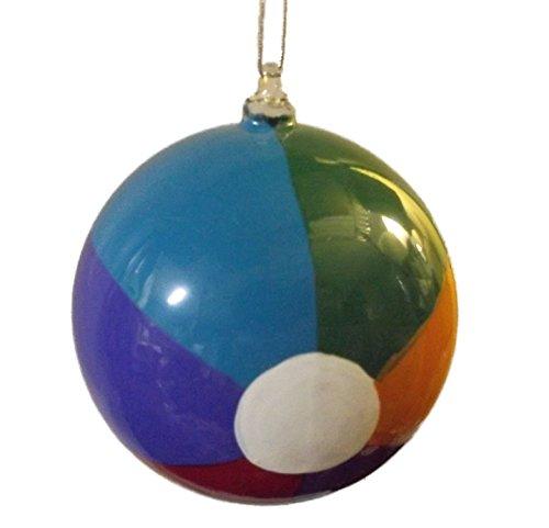 On Holiday Blown Glass Beach Ball Christmas Tree Ornament