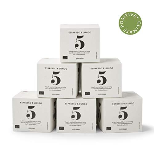 Sjostrand N5 Espresso/Lungo | Bio Kaffeekapseln Nespresso kompatibel, 60 Kapseln | 100% kompostierbar, 0% Aluminium | Fairtrade, umweltfreundlich & nachhaltig