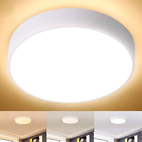 LED Deckenleuchte, 30W LED Panel Deckenlampe mit 3 Beleuchtungseinstellungen, ø40cm, 3200lm, 4500K - 6000K ideal für Badezimmer Balkon Flur Küche Wohnzimmer, Badezimmerleuchte