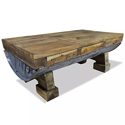 Festnight Vintage Coffee Table, Retro-Style Handmade Side Coffee Table Living Room Furniture Solid Reclaimed Wood