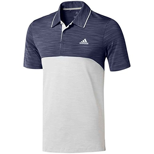 adidas Golf Ultimate Heather Blocked Polo Noble Green/Grey One Heather LG