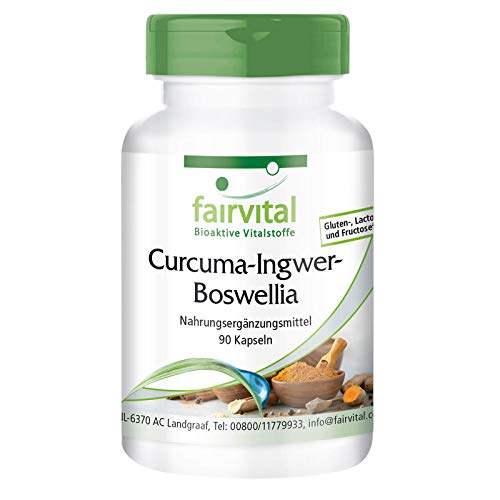 Cúrcuma, jengibre y Boswellia con vitamina C - Vegano - 90 cápsulas - con pimienta negra