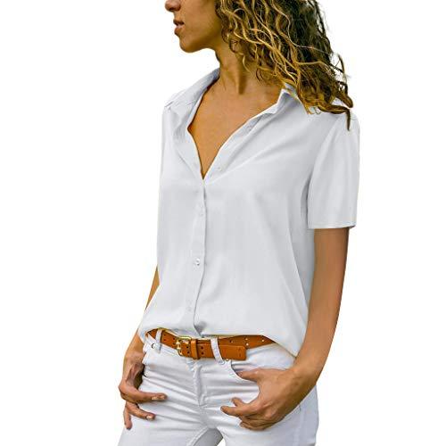 YEBIRAL - Damen Bluse Chiffon Elegant Kurzarm Oberteile Büro Damenmode Einfarbig V-Ausschnitt Lose Hemdbluse T-Shirt Tops 2019 Neue Große Größe(4XL,Weiß)