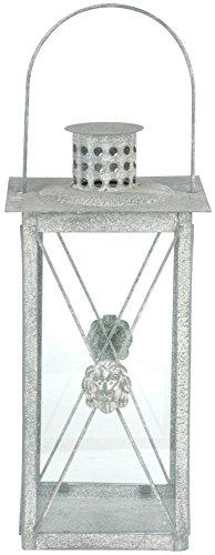Esschert Design AM Löwe Lanterne Suspendue en Métal Aged avec Poignée Gris 17,8 x 17,8 x 37 cm