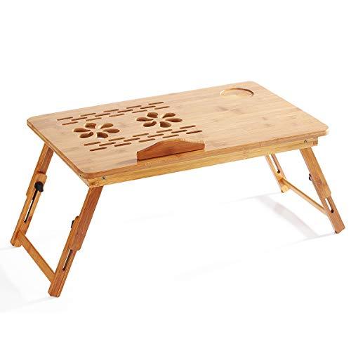 Aibecy Tavolo pieghevole per laptop in bambù, Tavolo per la colazione Vassoio da tavolo Tavolo regolabile in altezza con 4 angoli Inclinazione del ventilatore superiore Cassetto per Lavorare Mangiare