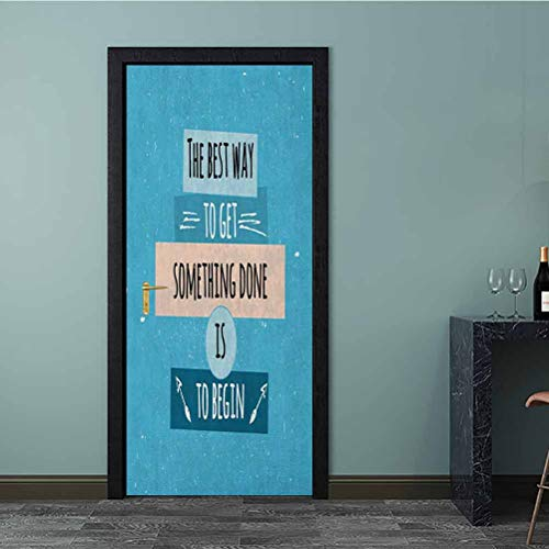 Door Stickers Philosophical Life Message to Raise Faith in Yourself and Your Strength Door Art Wall Decal for Walls Home Room Bedroom Office Decoration Blue Peach Black 77x200 CM