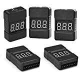 5Packs 2in1 1-8s Lipo Li-ion Battery Voltage Tester Check, Monitor RC Low-Voltage Buzzer Alarm for 1-8s Lipo/Li-ion/LiMn/Li-Fe