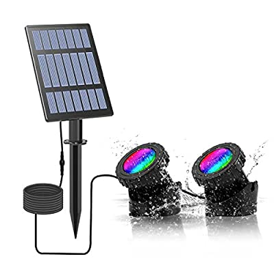 Solar Powered Pond Lights, Waterproof IP68 Submersible Lights with LED Color Changing Spot Light for Aquarium Tank Garden Pool Fountain Waterfall (Set of 2 Lights)