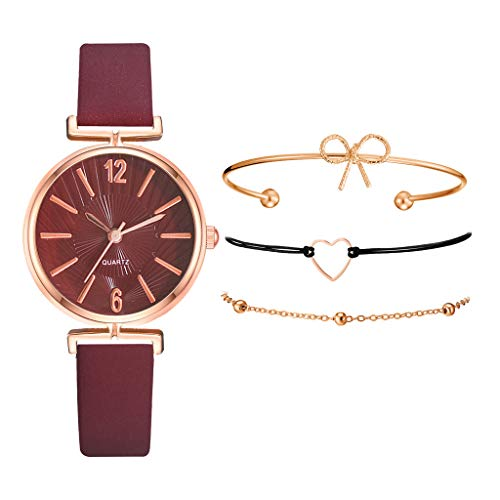 KANGMOON Women's Bangle Watch Bracelet Set, Women's Analog Quartz Watch with Bracelet Ladies Fashion Jewelry for Valentine's Day/Birthday/Wedding