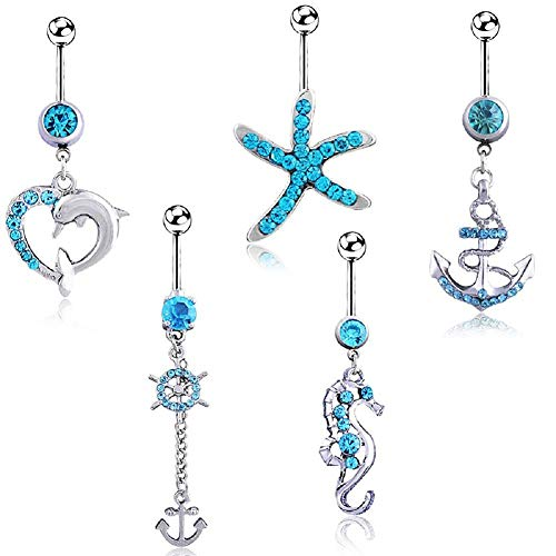 HoBST Holiday Sexy Blue Starfish Dolphin Seahorse Dangle Belly Button Rings Set for Men Women Girls Stainless Steel Body Piercing Jewelry