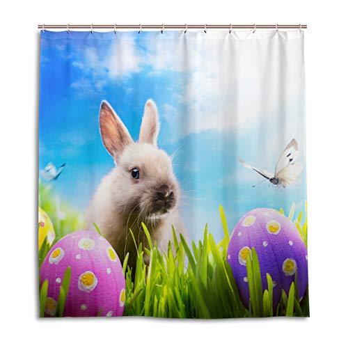 CPYang Duschvorhänge Ostern Kaninchen Eier Schmetterling Wasserdicht Schimmelresistent Badevorhang Badezimmer Home Decor 168 x 182 cm mit 12 Haken