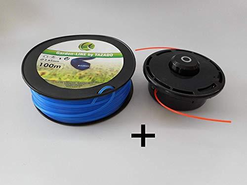 Professionele draadkop maaikop opname voor bosmaaier M10x1,25 versterkte uitvoering + 100 m maaidraad 2,65 mm 6-kant hoog snijvermogen.