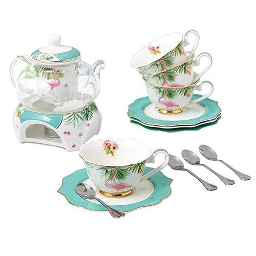 ufengke Porcelana Tazas de Café,Serie de Flores Taza de Té,Platillo,Cuchara con Calentador de Tetera,Filtrar,Juego de Té Flamenco