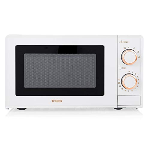 Tower T24029WRG Manual Solo Microwave with 4 Power Levels, 30 Minute Timer, Defrost Function, 700 W, 17 Litre, White and Rose Gold