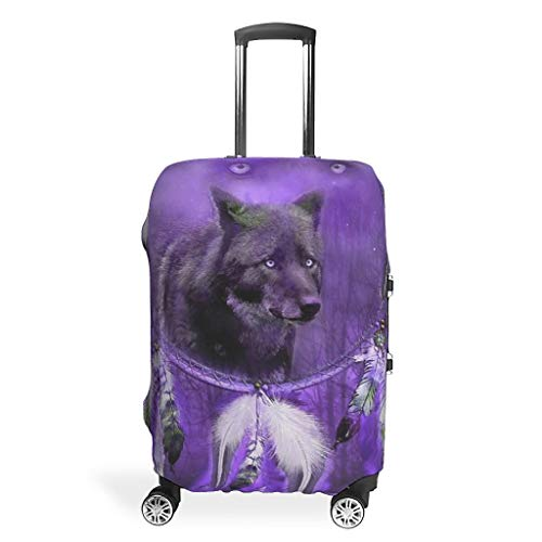 Wolf Animal-Mirror Travel Luggage Protector Durable Anti-Scratch Fits 18-32 Inch for Wheeled Suitcase Over Softsided White 30-32in