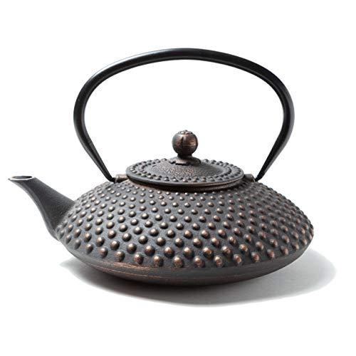 Tealøv TEEKANNE GUSSEISEN 1,25 Liter | Gusseiserne Teekanne im Japanischen Stil | Gusseisen Teekanne mit Sieb aus Edelstahl | Hervorragende Wärmespeicherfähigkeit | Langlebig | Kambin | Kupfer