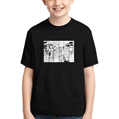 LJSJISDMWQS Golden Kamuy - Camiseta de manga corta para jóvenes con cuello redondo, plegable, cuello redondo, camisetas vintage