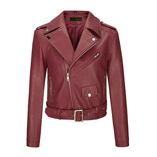 YoungSoul Cazadora Mujer, Chaqueta Biker de Cuero sintético con Cremallera asimétrica y cinturón Vino Rojo EU 32-34