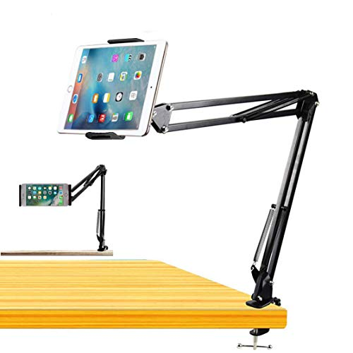 BROLAVIYA Cell Phone Tablet Stand, Gooseneck Flexible Clip Lazy Arm Bracket for Both Mobiles and Tablets fits Device 4~10.6 Diagonal inch, for Overhead Video,Desktop,Bedroom, Office, Kitchen
