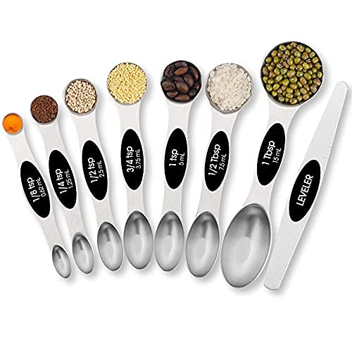 TEMEISI Magnetic Measuring Spoons Set, Dual Sided Stainless Steel Measuring Spoons Fits in Spice Jars, Stackable Teaspoon for Measuring Dry and Liquid Ingredients - Set of 8(Black)