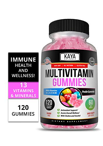 Kaya Naturals Adult Multi Vitamin Gummy, 120 Count, Biotin, Vitamin A, C & E, Including Zinc &Vitamin B-12, Folic Acid, Strawberry Flavor (120 Gummies)