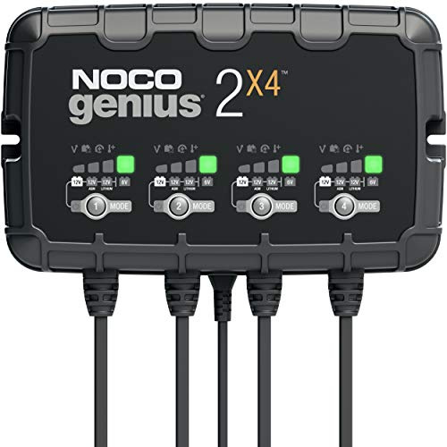 NOCO GENIUS2X4, 4-Bank, 8-Amp (2-Amp Per Bank) Fully-Automatic Smart Charger, 6V And 12V Battery Charger, Battery Maintainer, Trickle Charger, And Battery Desulfator With Temperature Compensation
