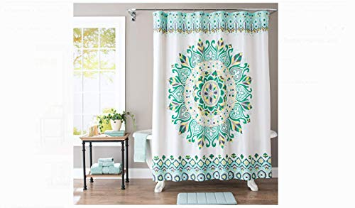 Better Homes & Gardens Medallion Fabric Shower Curtain, Multicolor, 72x72