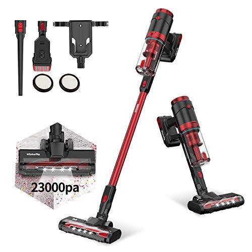 Vistefly VX Aspiradora sin Cable, 23kPA Potente, 250W, Batería Extraíble 2200mAh, 3 Niveles de Succión, 1.2L, Aspiradora de Mano sin Bolsa 2 en 1, Filtro HEPA, Cepillos con LED (Rojo)