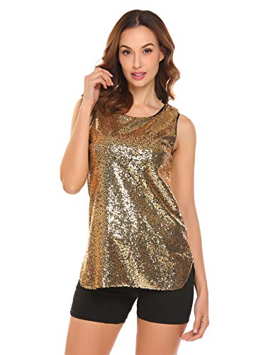 Parabler Damen Paillette Top Glitzer Oberteile Shirt Tunika Rundhals Tank Loose Fit Ärmellos Bluse Casual Vest Party Club Gold Rot schwarz