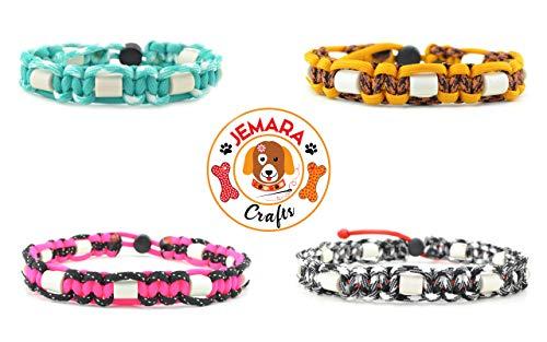 Generisch EM-Keramik-Zeckenhalsband-Wunschfarbe-nach-Maß-Flohband-Hunde-Paracord-Schutz (46-50cm)