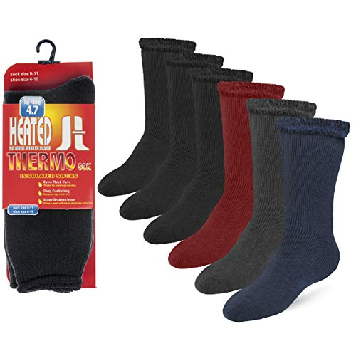 Debra Weitzner Thermal Socks For Men and Women Heated Winter Socks Insulated for Cold Weathers 6 Pack Assorted