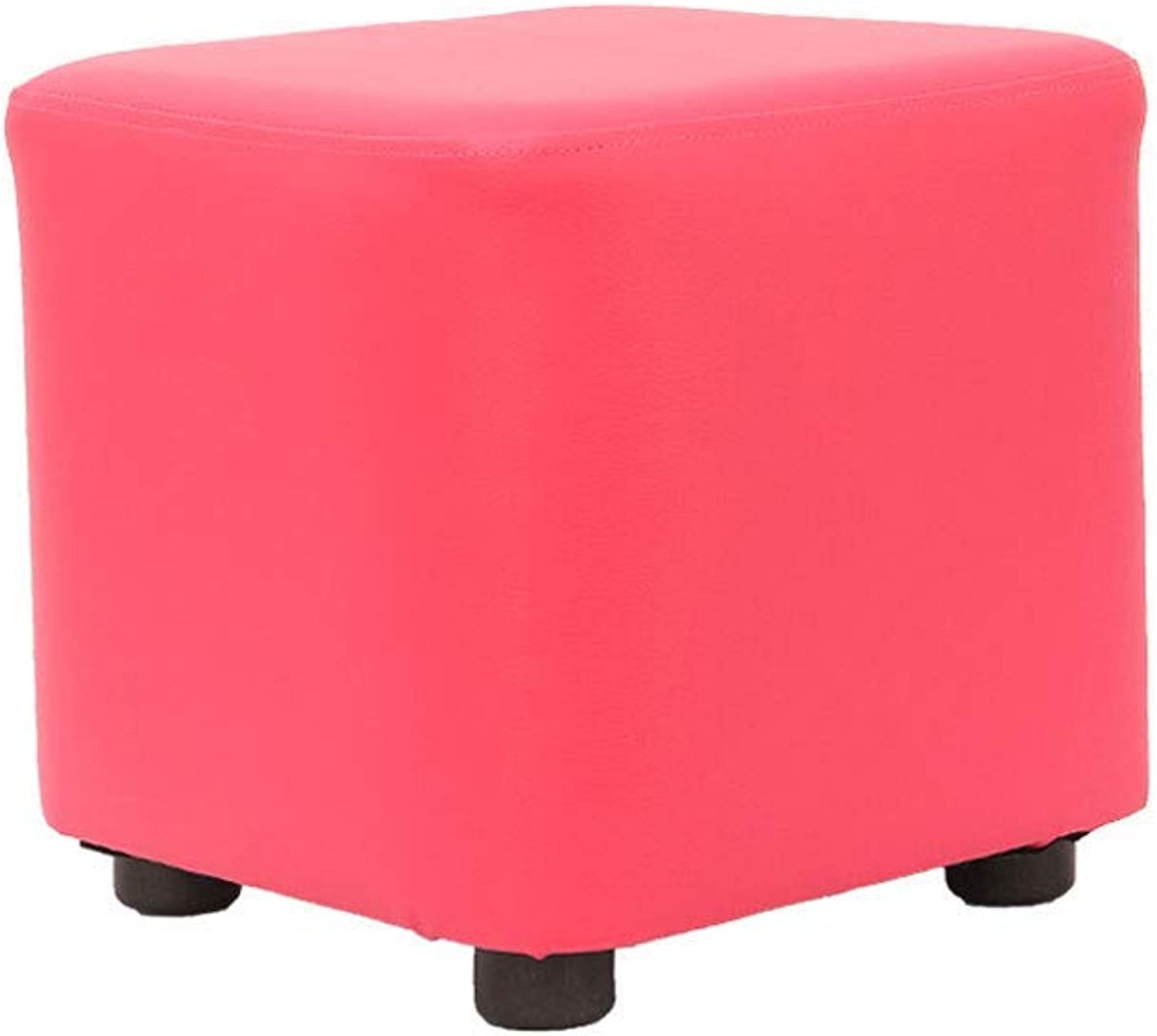 GJD Home Footstool, Creative Leather Fashion Sofa Bench, shoes Bench Leather, Multi-color (color   pink)
