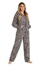 CityComfort Pijama Mujer Invierno, Pijama Mujer De Polar Súper Suave con Capucha, Conjunto de Pijama de Manga Larga Estampado con Animal, Regalos Originales para Mujer (L, Estampado de Leopardo)