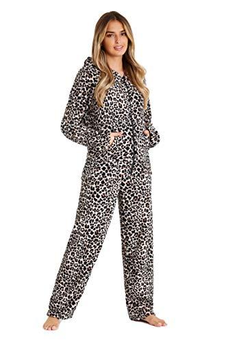 CityComfort Pijama Mujer Invierno, Pijama Mujer De Polar Súper Suave con Capucha, Conjunto de Pijama de Manga Larga Estampado con Animal, Regalos Originales para Mujer (M, Estampado de Leopardo)