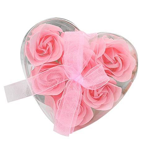 eiuEQIU Rosenbox Herz, 6 Rosen, stabile Flowerbox schwarz, 10 Jahre haltbar, Geschenkidee, dekorative Blumenbox, Perfekt für Valentinstag, Jubiläum