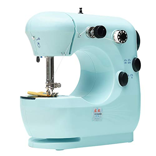 SHUDAGE Sewing Machine, Household Portable Electric Sewing Machine Portable Mini with 12 Different Stitches, Fabric Sewing, DIY, Easy Operation, Durable, for Fabric, Clothing, Home Travel (Blue)