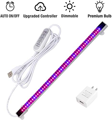 Sondiko LED Grow Light Strip, Auto On&Off Every Day Grow Light with 48 LEDs 4 Dimmable Levels for Indoor Plants