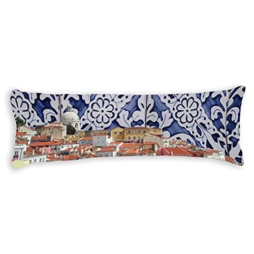 Funda de almohada para el cuerpo, 50,8 x 137,2 cm, diseño de azulejos portugueses de la ciudad de Lisboa, con cierre de cremallera oculta, protector de almohada de cuerpo largo