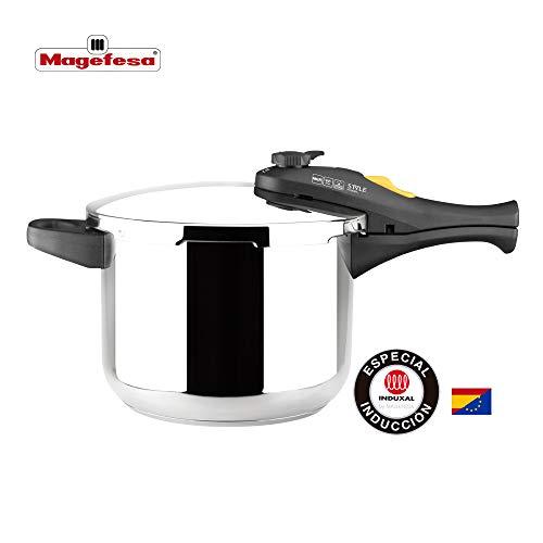 MAGEFESA Style Olla a presión Super rápida de fácil Uso, Acero Inoxidable 18/10, Apta para Todo Tipo de cocinas, Incluido inducción. (7,5 L)