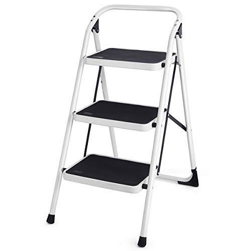 Goplus 3 Step Ladder, Folding Heavy Duty Step Stool Lightweight Steel Ladder with Handgrip and Wide Anti-Slip Platform for Kitchen Shop, 340lbs Capacity (Black)